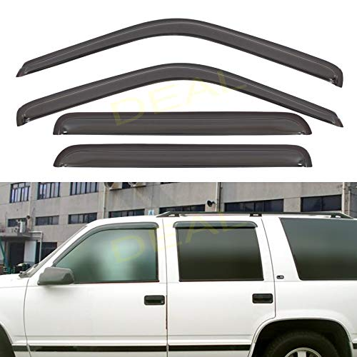 DEAL 4-Piece Set Smoke Vent Window Visor With Outside Mount Tape-On Type, Fit Cadillac Escalade Chevy Tahoe GMC Yukon, Chevy/GMC C1500 C250 K1500 K2500 Suburban C2500 C3500 K2500 K3500 Crew Cab