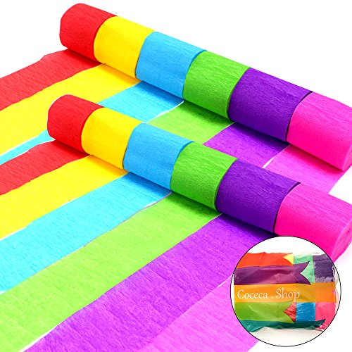 Coceca 36 Rolls Crepe Paper Streamers 6 Color for Birthday Party Graduation Ceremony Decoration