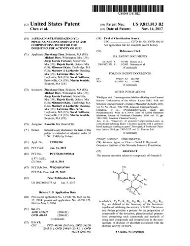 1-(triazin-3-yl/pyridazin-3-yl)-piper(-azine)idine derivatives and compositions therefor for inhibiting the activity of SHP2: United States Patent 9815813 (English Edition)