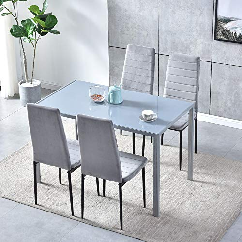 Set of 5 Dining Table Chair Set, Grey Glass Rectangular Dining Table and 4 Grey Velvet Dining Chairs, Modern Dining Room Set with Metal Legs 5-Piece Kitchen Table Chairs Set for Living Room Restaurant