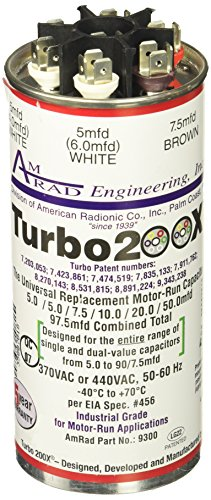 MARS - Motors & Armatures 12300 Turbo 200X 5-97.5 mfd 370/440V Round Universal Run Capacitor