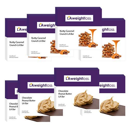 LA Weight Loss Bars - Nutty Caramel Crunch & Chocolate Peanut Butter - 8 Boxes