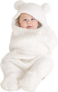 SUNBIBE👻0-12 Month Old Baby Cute Cotton Ear Receiving Swaddle Sleeping Bag Stroller Cross Wrap Blanket Photography Prop