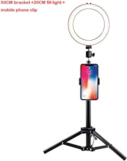 Color : White DFYYQ LED Ring Light for Phone Big Clip Round Fill Light 3 Light Color USB Charging Selfie Light Flashes