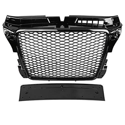 KIMISS Rejilla delantera del auto Rejilla inferior, ABS RS3 Rejilla de parachoques negro para A3 / S3 8P