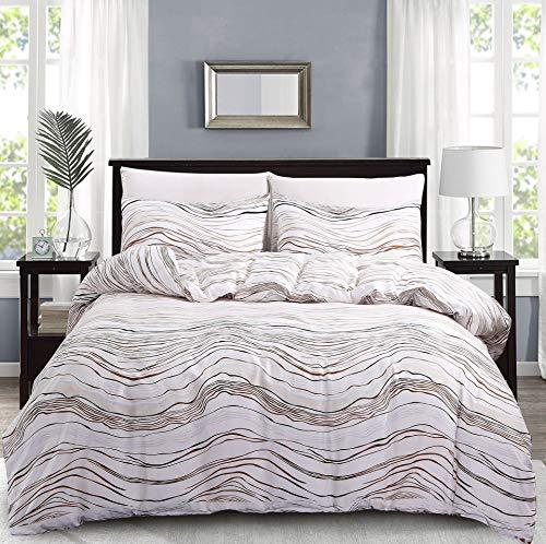 Woollii Bedding Premium Reversible Luxury Corrugated Closure Comforter Set Soft 3Pcs Duvet Cover Set(1 Duvet Cover + 2 Pillow Shams)(Queen,Corrugated)