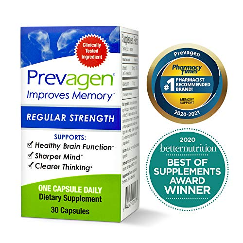 Prevagen Improves Memory Regular Strength 10mg, 30 Capsules with Apoaequorin & Vitamin D | Brain Supplement for Better Brain Health, Supports Healthy Brain Function