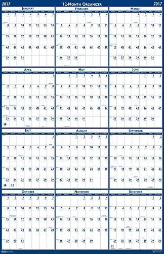 "House of Doolittle 2017 Laminated Wall Calendar, Reversible, Horizontal/Vertical, 66 x 33"" (HOD3962-17)"
