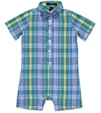 Nautica Baby Boys Fashion Button Up Shortall with Bowtie, Plaid Bracken Green, 18M