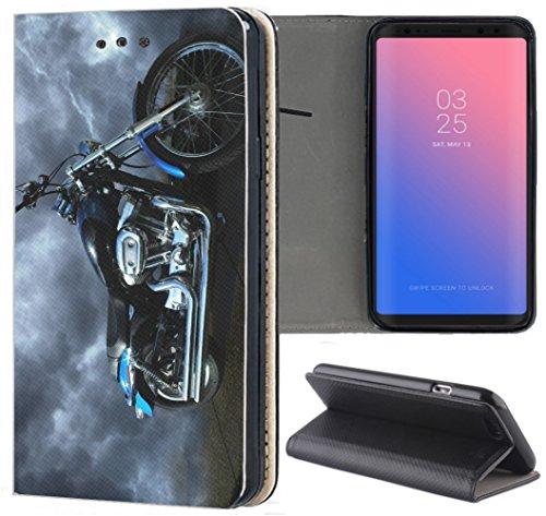 Samsung Galaxy S5 / S5 Neo Hülle Premium Smart Einseitig Flipcover Hülle Samsung S5 Neo Flip Case Handyhülle Samsung S5 Motiv (1058 Motorrad Schwarz Blau Silber)