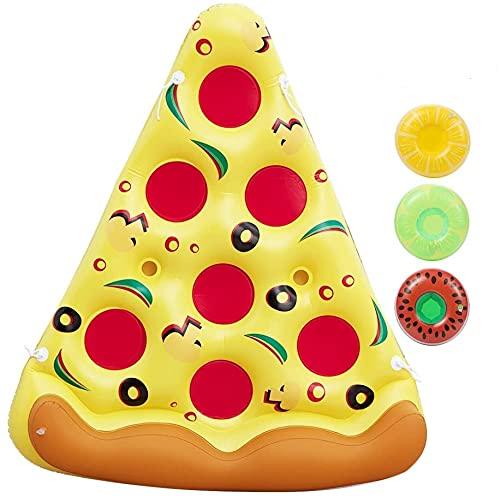 Giant Inflatable Pizza Pool Float Raft Outdoor Swimming Pool Inflatable Float .Fun Pool Floaties, Swim Party Toy, Summer Pool Raft with 3 Pack Inflatable Drink Holders.