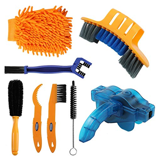 Anndason 8 Pieces Precision Bicycle Cleaning Brush Tool Including Bike Chain Scrubber, suitable for Mountain, Road, City, Hybrid ,BMX Bike and Folding Bike