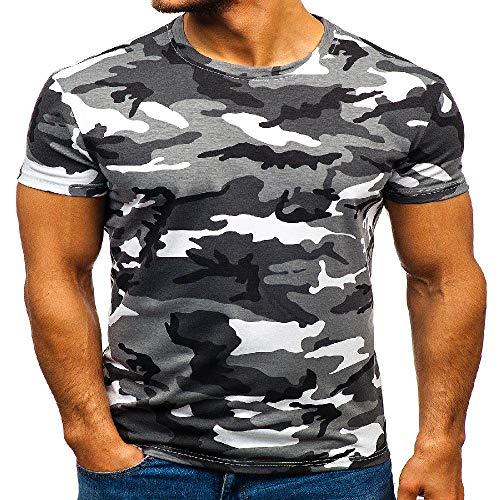 NOBRAND - Camiseta de manga corta para hombre, diseño de camuflaje digital, cuello redondo, casual, de manga corta Camuflaje gris claro. M