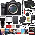 Sony ILCE9/B a9 Full Frame Mirrorless Interchangeable Lens Camera Body Bundle with 128GB Memory Card, Extra Battery, Monopod, Photo and Video Editing Suite, Camera Bag and Accessories (18 Items)