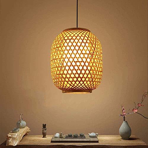 GUOXY Bambuslampe Feine Bambus Hängende Lampen-Deckenleuchte-Art Oriental Chinese Pendelleuchte Kronleuchter Shade Rattan Handmade