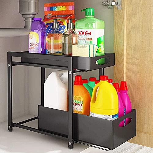 Estante de almacenamiento de almacenamiento de cocina ajustable Cajón de almacenamiento Material de almacenamiento Estante de almacenamiento de estante de especias sin patín debajo del fregadero