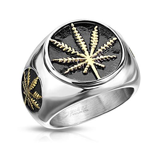 BlackAmazement 316L Edelstahl Ring Hanfblatt Pot Leaf Weed 60-73 Silber Silber Gold schwarz Herren (60 (19.1))