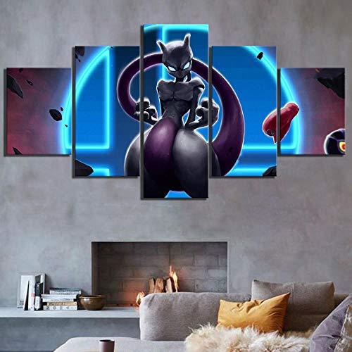 Arxyd muurschildering, 5 stuks, kunstdruk op canvas, decoratie thuis, HD-printer, canvas, 5 stuks, leeuwen, rugissant, spiegels, muurschilderingen, dieren, foto's, voor woonkamer 150*100 CM A4