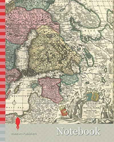 Notebook: Map, Novissima nec non perfectissima Scandinaviæ tabula comprehendens regnorum Sueciæ, Daniæ et Norvegiæ distincté divisam descriptionem, Frederick de Wit (1610-1698), Copperplate print