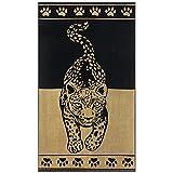 Delindo Lifestyle® Tropical Toalla de playa, XXL, 100% algodón, 100 x 180 cm, diseño de leopardo, color dorado