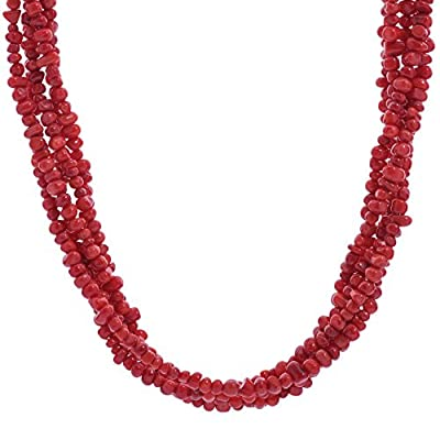 American West Brass Red Coral Gemstone Bead 5-Strand Necklace 17 Inch