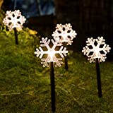 FUCHSUN $$$ Christmas Decorative Lighting Garden Path Makers Display Light Copper Wire String Snowflakes (5pcs) Warm White Led Battery Operated for Indoor and Outdoor Holiday Decoration