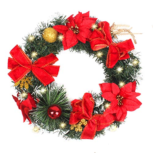 ERONE Christmas Wreath with Lights Artificial Holiday Party Decor,Front Door 13-inch Small prelit Garland Set for Indoor Outdoor Window Decorations