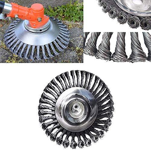 Profi Wildkraut Fugenbürste Unkrautbürste,8 Zoll Rotary Weed Brush Joint Twist Disc 25,4 mm x 200 mm Rundbürste für Freischneider,Rasenmäher