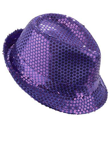 DEGUISE TOI - Chapeau Borsalino à Sequins Violet Adulte - Taille Unique