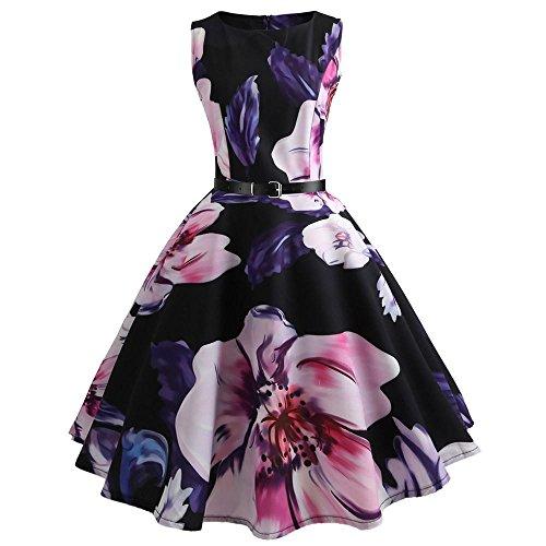 VEMOW Heißer Elegante Damen Mädchen Frauen Vintage Bodycon Sleeveless Beiläufige Abendgesellschaft Tanz Prom Swing Plissee Retro Kleider(Violett, 38 DE/L CN)