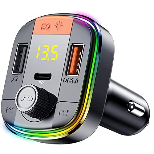 Transmetteur FM sans Fil Bluetooth 5.0,7 Couleurs Lumière, Kit Main Libre Voiture avec Chargeur Allume Cigare USB 5V/3.1A & QC3.0, Soutien Carte TF/Clé USB Mp3