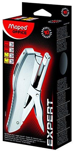 Maped Expert - Agrafeuse Métal XL - Pour Usage Intensif - Compatible Agrafes 24/6-8 et 26/6-8 - Capacité 20 à 45 Feuilles