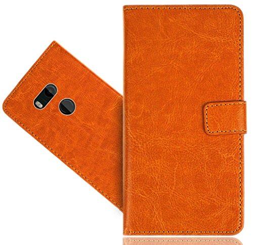 FoneExpert® HTC U11+ / U11 Plus Coque, Etui Housse Coque en Cuir Genuine Portefeuille Wallet Case Cover pour HTC U11+ / U11 Plus
