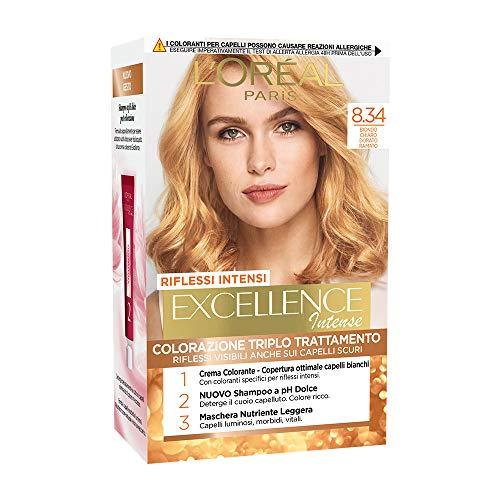 L'Oréal Paris Tinta Capelli Excellence Intense, Copre i Capelli Bianchi, Colore Ricco, Luminoso e a Lunga Durata, Biondo Chiaro Dorato Ramato 8.34, Confezione da 1
