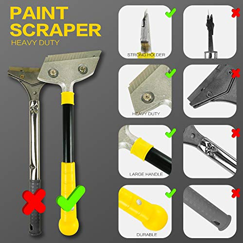 Razor Blade Scraper,Long-Handle Putty Knife,with 10 Blades Set Paint Scraper for Wood,Window Glass Wallpaper Remover,Painting Stripping Tools,Tile Adhesive Removal 4-inch (Scraper with Blades Set)