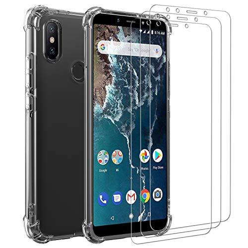 iVoler Cover per Xiaomi Mi A2, Antiurto Custodia con Paraurti in TPU Morbido e 3 Pezzi Pellicola Vetro Temperato, Ultra Sottile Trasparente Silicone Protettiva Case