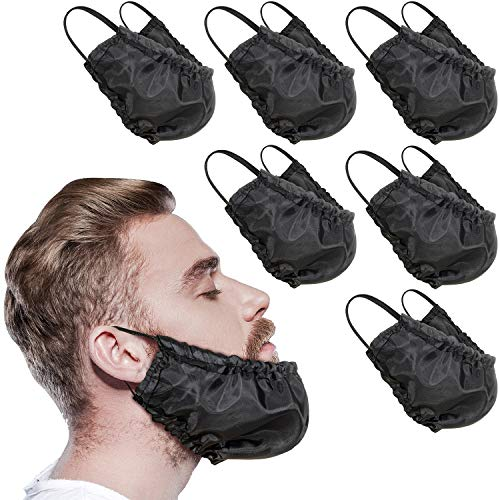 9 Pieces Beard Bandana Beard Covers Facial Beard Apron Caps Facial Beard Guard Bedtime Bib (Black)