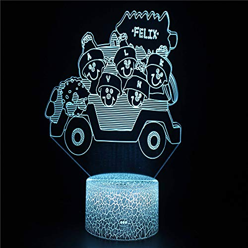 Jeep 3D Illusion Lights Lamp Ice Crack Base LED Table Desk Decor 7 Colors Touch Control USB Powered