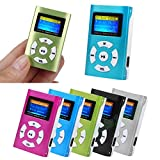 HighlifeS Mp3 USB Portable Mini MP3 Player Metal LCD Screen Support 32GB Micro SD TF Card (Silver)