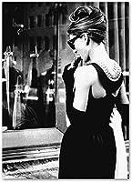 オードリーヘプバーンブラックホワイトハリウッドMoiveスターキャンバス絵画ヴィンテージポスタープリントレトロな壁の写真女の子の寝室の装飾40x60cmフレームなしZj