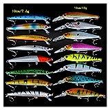 GuanRen Set Mixed 16pcs / Lot 2 Modelos Modos Minnows LUSES DE Pesca DE Pesada JERKBAIT TACE DE Pesca 6# Ganchos