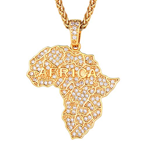 18K Gold Plated, Iced Out Map Of Africa Pendant Necklace, & Wheat Chain, Gift For Men, Rapper Hip Hop Necklace, Full Cubic Zirconia African Jewelry Bling Bling Map Necklace (Gift Packaging), RP20030K