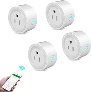 Smart Plug Mini Wifi Wireless Remote Control Outlet Switch Phone App Controlled Eletric Socket That Compatible with Alexa Echo,Google Home and IFTTT (Pack 4)