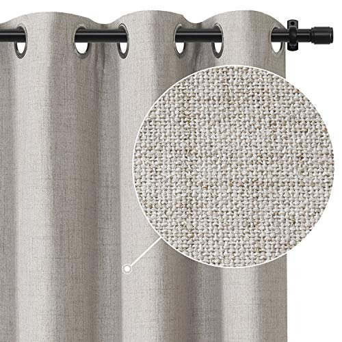 Rose Home Fashion 100% Blackout Curtains for Bedroom Linen Textured Look Drapes with Blackout Liner, Curtains for Living Room/Farmhouse, Burlap Curtains-Set of 2 Panels (50x84 Beige)