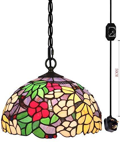 CattleBie Barroco Tiffany iluminación Pendiente de Cristal de Colores Pantalla con 4,5 m Certificado CE Dimmer Tirador de Restaurante, Bombillas no Incluidas