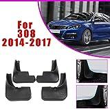 SKNB Guardabarros De Coche Mejorados para Peugeot 308 2012-2017 Guardabarros Delantero Trasero Estilo De Guardabarros De Coche U0026 Accesorios De Carrocería Negro 4 Piezas