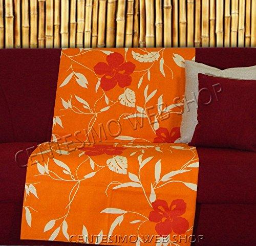 Centesimo Web Shop Telo ARREDO COPRITUTTO 300X270 cm Maxi Prodotto in Italia Gran Foulard Multiuso Telo Tuttofare COPRIDIVANO - Fantasia Floreale Fiori - 300x270 cm Arancione