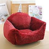 ZWBTY - Juego de cama y manta anti ansiedad y calmante para perro, con almohada lavable y funda extraíble, relleno de algodón suave, cojín calmante para perro Medium Rojo