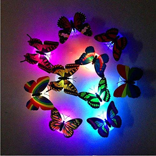 DFVVR Decoración del hogar, colorido cambio de mariposa LED luz de noche lámpara de la habitación del hogar fiesta escritorio decoración de pared hogar y jardín (aleatorio)