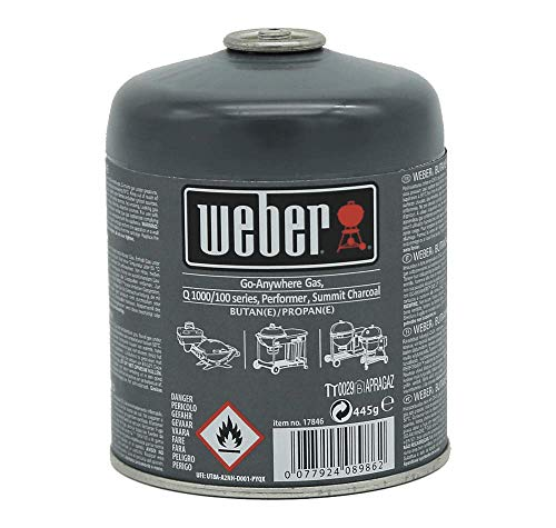 Weber Gaskartusche 445g, Q 100/1000-Serie, Performer Deluxe, Go-Anywhere und Summit® Charcoal, 17846